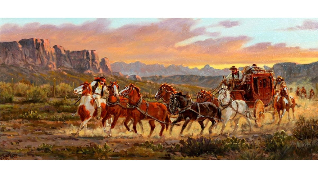 Old west stagecoach scene or painting | history ...  |Large Western Stagecoach Art
