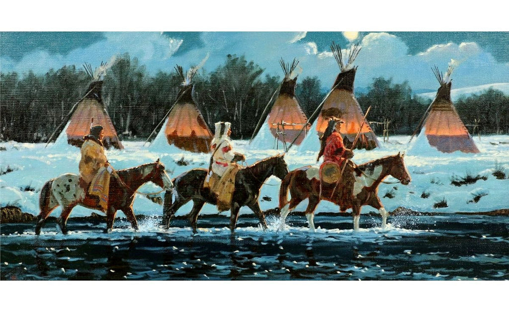 "Indian Painting : Ron Stewart Oil Painting, Original Painting, ""Silent Return"" Signed Ron Stewart, Ron Stewart Western Art, Ron Stewart Art,"