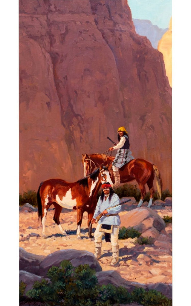 "Painting : Ron Stewart Oil Painting, Original Ron Stewart Oil, ""Canyon Shadows"" Signed Ron Stewart, Ron Stewart Western Art, Ron Stewart art"