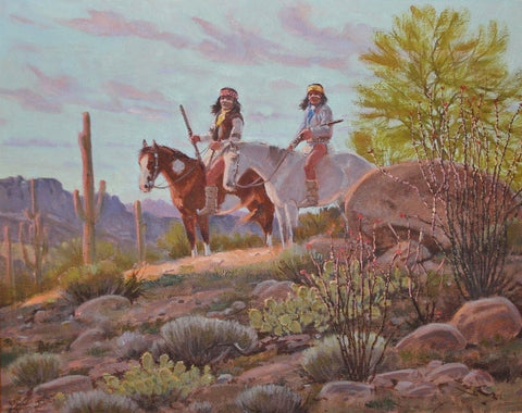 "Indian Painting : Ron Stewart Painting, Western Artist, ""Arizona Evening"",Original, Oil Painting, Indians on Horseback. Ron Stewart Fine Art, #156"