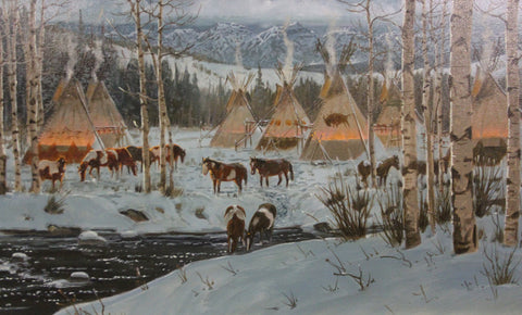 "Original Oil Painting : Ron Stewart Oil Painting, Original Ron Stewart Oil Painting, ""Winter Comforts"", Signed, Western Art, Horses, #157"
