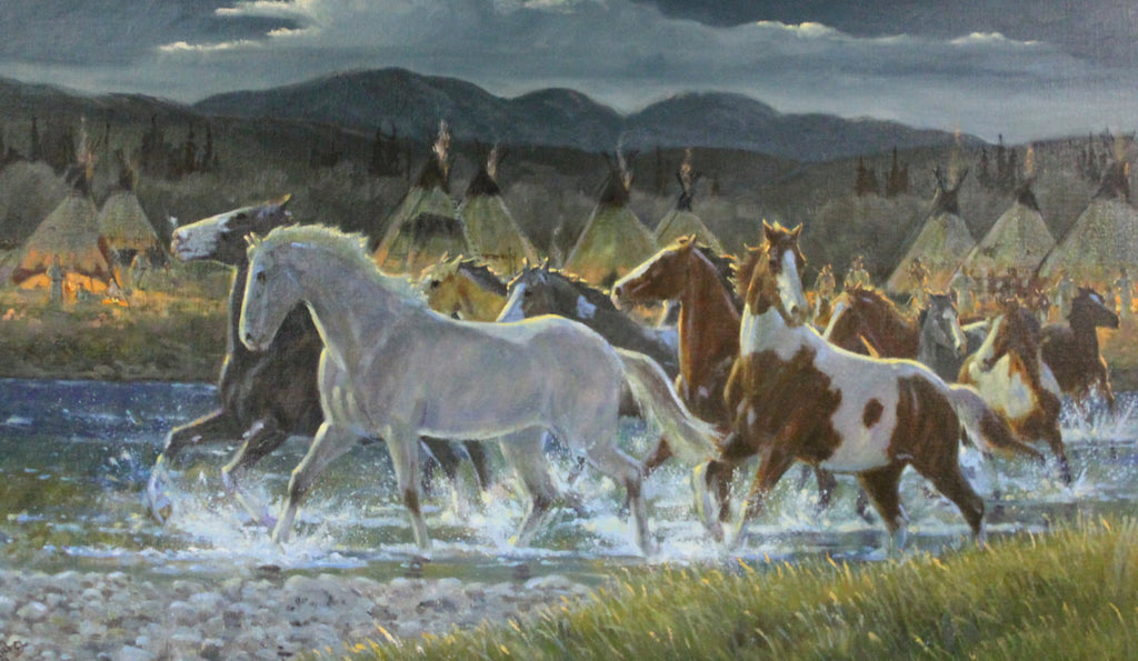 "Wild Horses : Original Ron Stewart Oil, ""Ponies for Warriors"" Signed Ron Stewart, Ron Stewart Western Art, Ron Stewart Art"