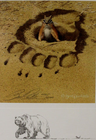 "Bear Art : Bev Doolittle, Bear and Chipmunk, ""No Respect"", 7770/25000, Signed, Commemorative Piece, Grizzly Bear and Chipmunk,#171"