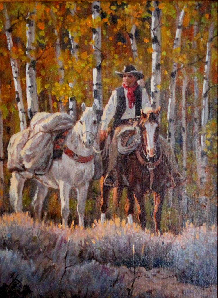 "Original Painting : Ron Stewart Oil Painting, ""Aspen Country"" Signed Ron Stewart, Ron Stewart Western Art, Ron Stewart Art"