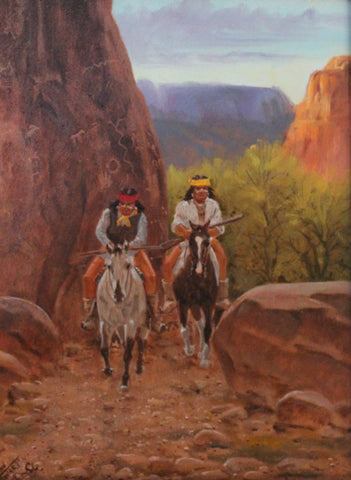 "Western Painting : Ron Stewart Oil Painting, Original Ron Stewart Oil, ""Path of the Ancient Ones"" Signed Ron Stewart, Ron Stewart Art, #701"