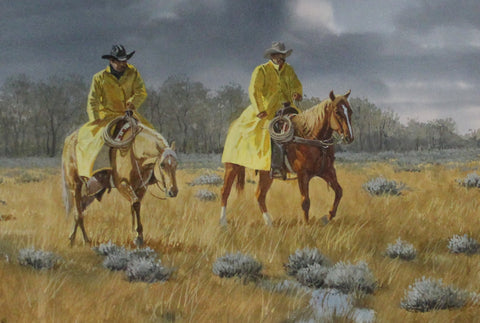"Original Painting : Ron Stewart, ""Cold, Wet and Hungry "", Signed,  Opaque Water Color Painting,  Original, Western Painting, Hand Painted, #708"