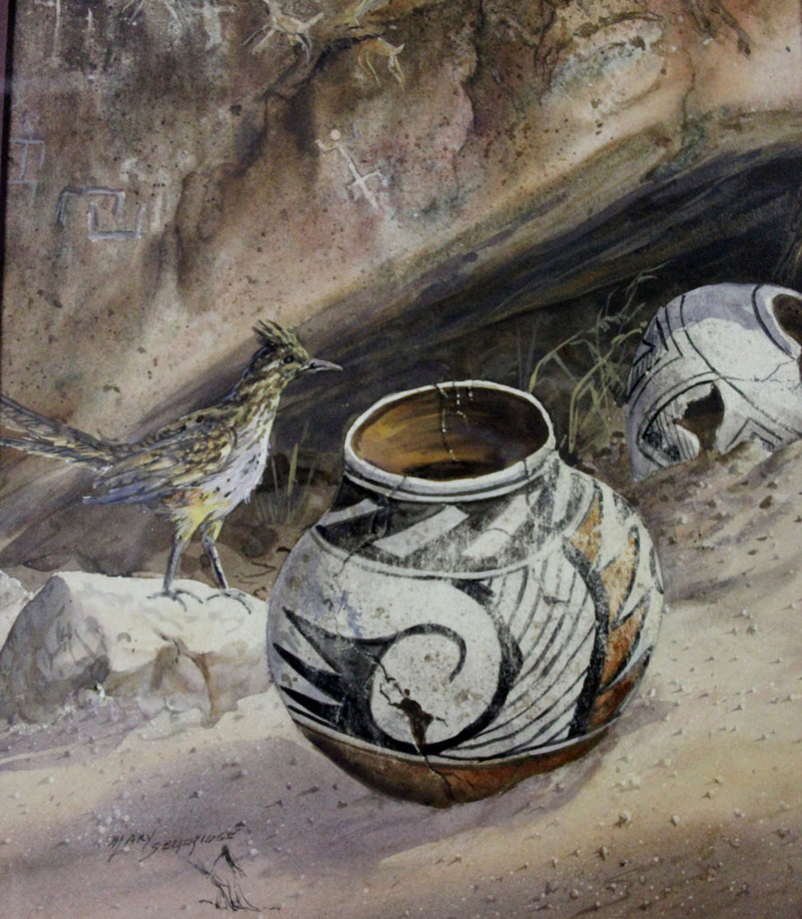 "Water Color : Mary Selfridge Artist, Mary Selfridge Art, Water Color, Titled ""Secrets"", Pot Shards. Feathers, Roadrunner, Ancient Pottery"