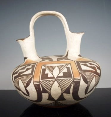 Native American Pottery, Acoma Pottery, Wedding Jar, Polychrome with Birds, Circa 1920's-1930's-#680