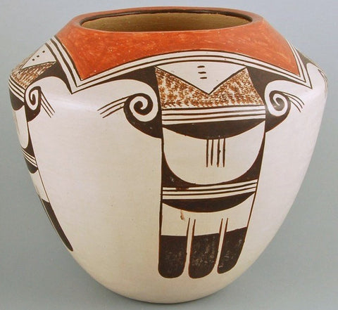 Hopi Pottery, Native American Pottery by Helen Naha, Feather Woman, Eagle Tail Pattern-#679 SOLD