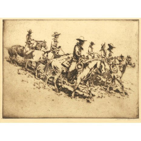 "Western Artist, Edward Borein Etching, ""Cowboys"", Signed lower right Margin, Edward Borein, #34 the Etchings of Edward Borein, #86"