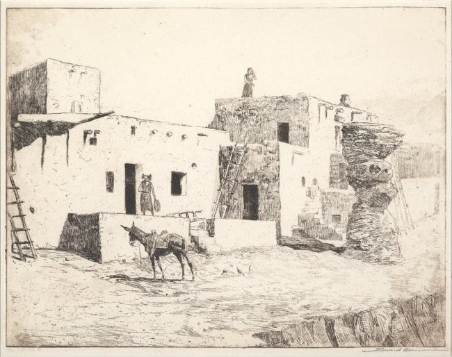 "Fine Art : Edward Borein, Etching, Cowboy Artist, ""The Dance Plaza, Walpi"", 1915, Etching on Paper, #593"
