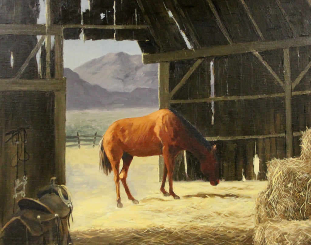 "Country Painting : Marshall Merritt Artist, Marshall Merritt Oil Paintings, ""Horse in a Barn"", Ca 1960's, #691"
