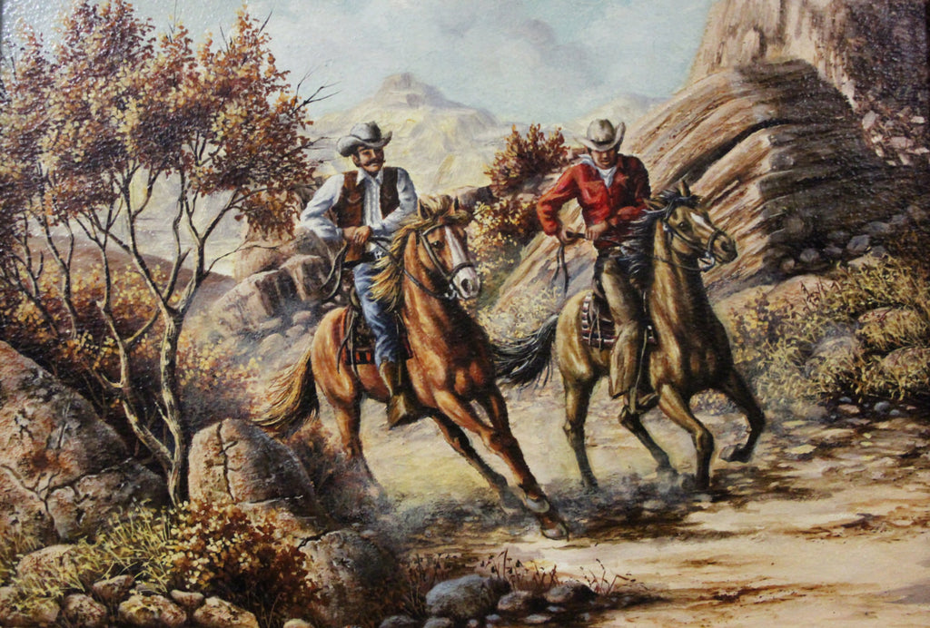"Oil Paintings : L Karren-Brakke Oil Paintings, ""Cowboys on Horses"" L Karren-Brakke Western Artist, CA 1960'-1970's, #693"