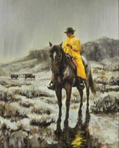 "Western Painting : Andy Dagosta Oil Painting, ""Slicker weather"", Andy Dagosta Artist, Andy Dagosta Western Artist, CA 1960's-1970's, #692 Donated to the NRA Foundation 2016"