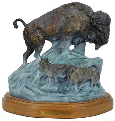"Bronze Sculpture: Kenneth Payne, ""Wintertime of the Buffalo"", 43/45, Created 1990, # 718"