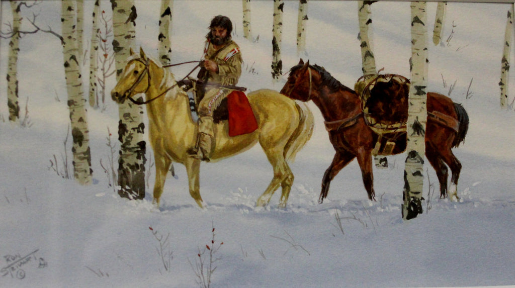 "Western Watercolor : Ron Stewart Listed Western Artist, Ron Stewart ""Trapper and Pack Horse"", Water Color, Signed  #684"