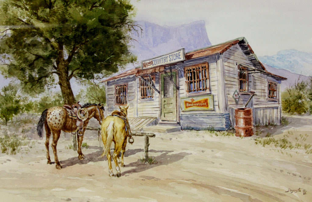 "Western Art : Andrew Dagosta, Western Artist, Water Color Painting, "" Country Store"", Ca 1984, #712"