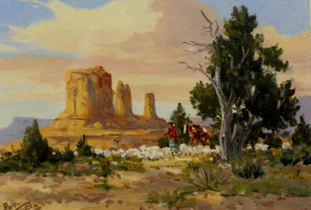 Western Artist: Ron Stewart, Water Color Painting of Navajo Woman with Sheep, Ca 1980 #720