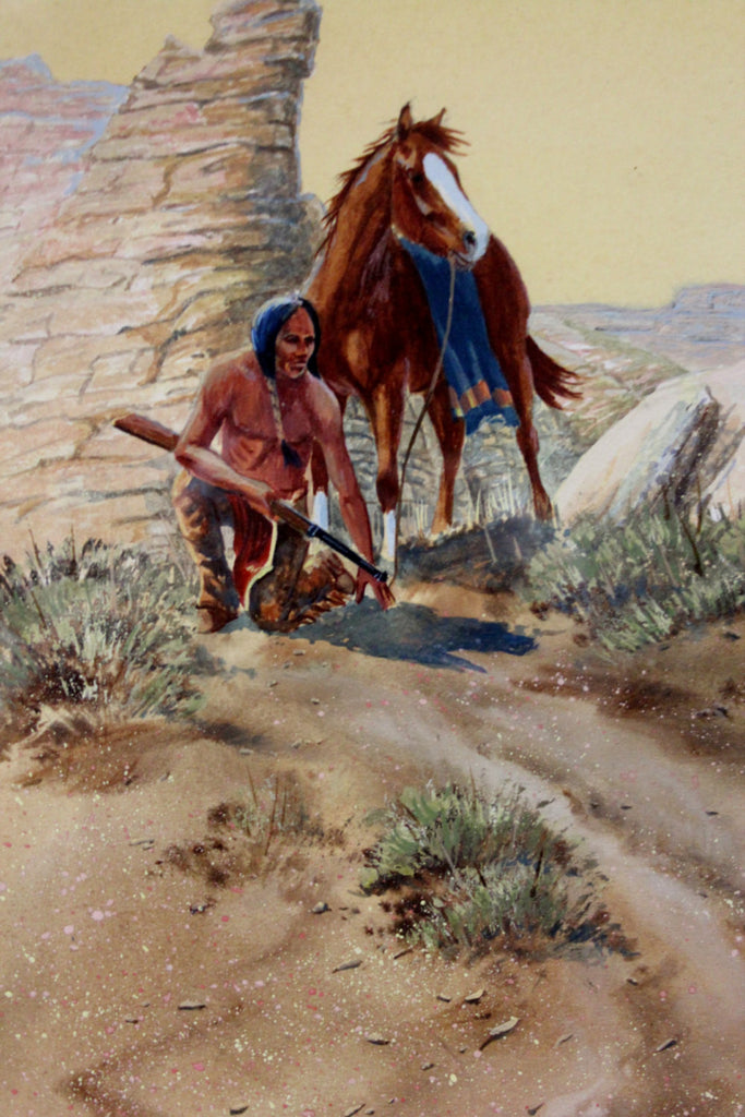 Wester Art: Ron Stewart, Western Artist, Water Color Painting, ‰ÛÏWarm Trail‰۝, Ca 1980, #727