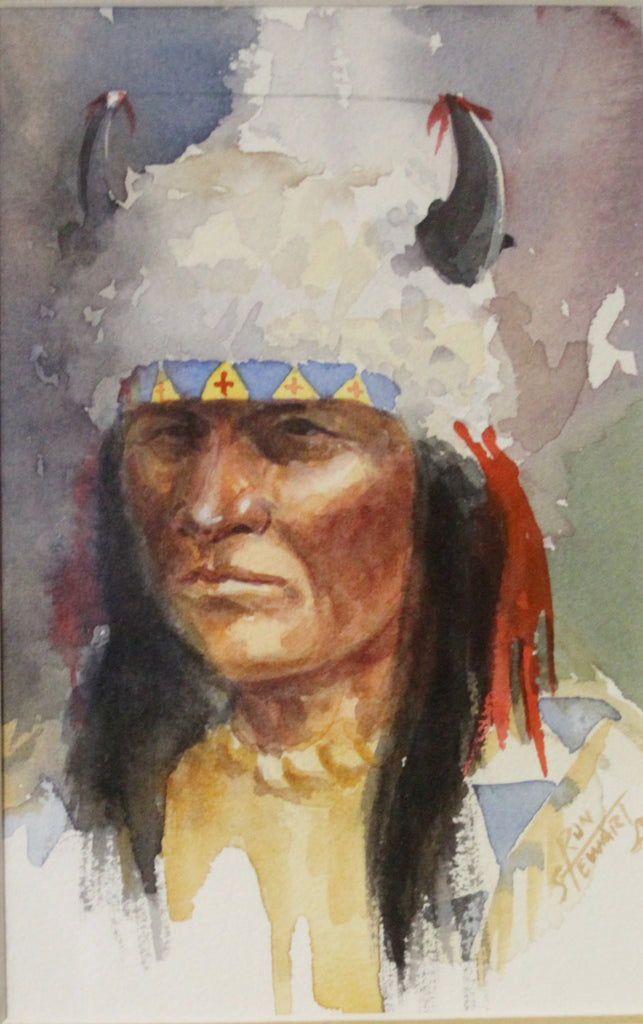 Western Art:  Ron Stewart, Western Artist, Water Color Painting, ‰ÛÏThree Indians and a Mountain Man‰۝, Ca 1980, #731