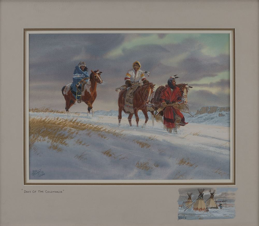 "Western Artist: Ron Stewart, ""The Days of the Cold Maker, Water Color Painting, with Detailed Remarque, #739"