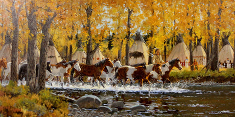 "Western Artist: Ron Stewart, ""Ponies of Autumn"", Oil Painting, #736 Sold"