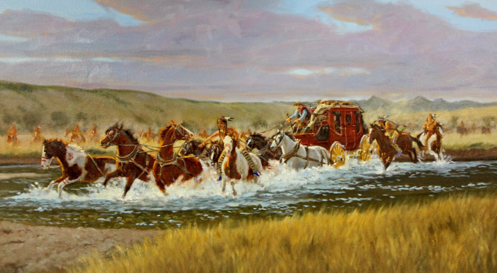 Western Artist: Ron Stewart, ‰ÛÏGrabbing For The Leader‰۝, Oil Painting