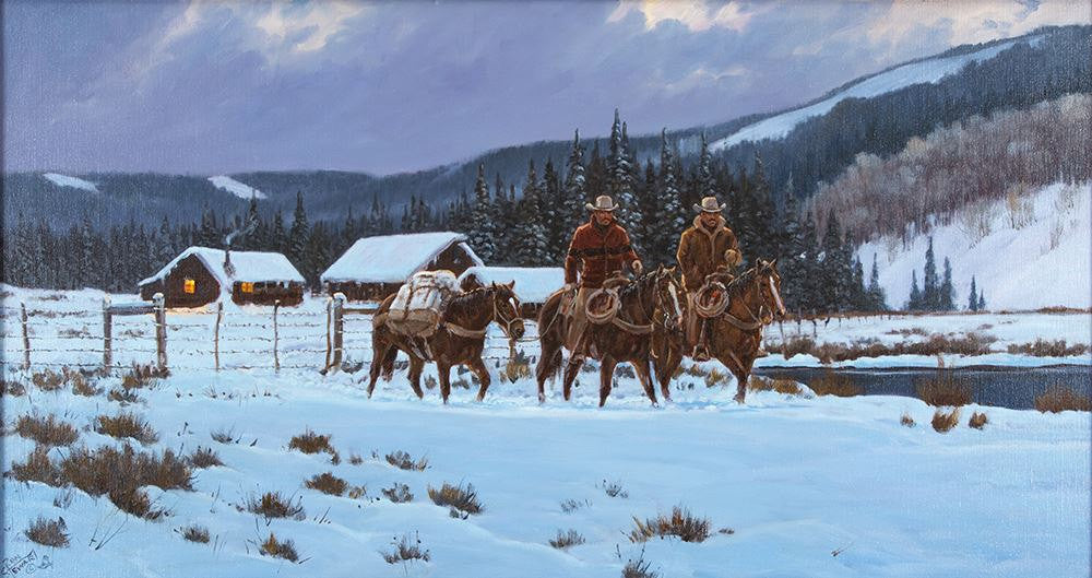 Western Artist: Ron Stewart, ‰ÛÏBreaking Light‰۝, Oil Painting on Canvas, Signed Lower Left Hand Corner, #744
