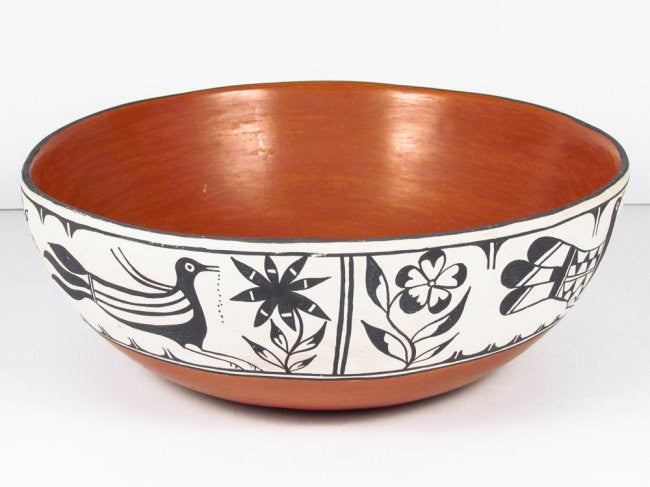 Pottery, Native American Pottery, Santo Domingo Polychrome Pottery Dough Bowl, Ca 1950, Signed With A Large Trailing A, #752