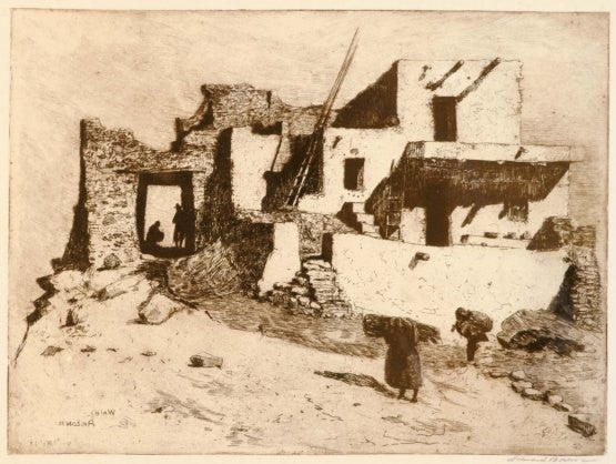 Western Art: Fine Art Etching, Edward Borein (1872-1945) Etching, ‰ÛÏLast House Walpi‰۝, #755