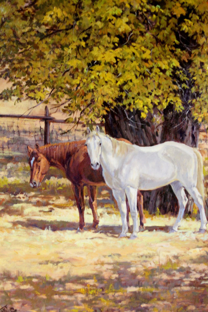 Western Artist: Ron Stewart, ‰ÛÏAutumn Buddies‰۝, Oil Painting, Signed Lower Left Hand Corner, # 747