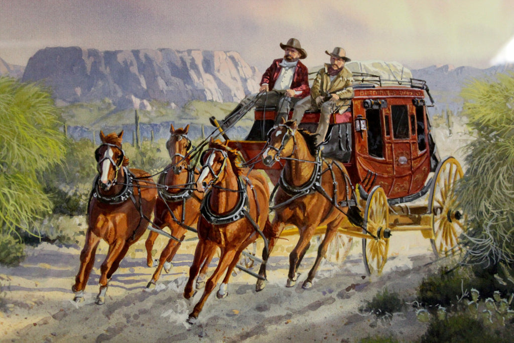 Western Artist: Ron Stewart, ‰ÛÏCactus Run‰۝, Water Color Painting, Signed Lower Left Hand Corner, a Detailed Remarque in The Lower Right,#746