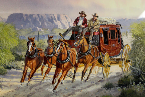 "Western Artist: Ron Stewart, ""Cactus Run"", Water Color Painting, Signed Lower Left Hand Corner, a Detailed Remarque in The Lower Right,#746"