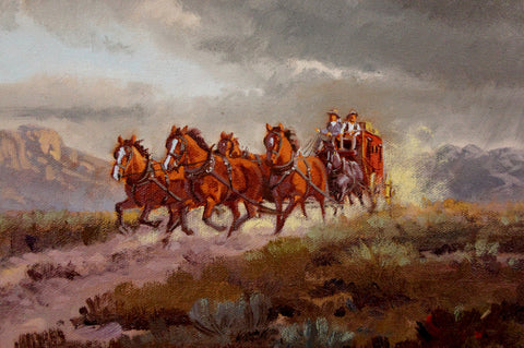 "Western Artist: Ron Stewart, ""Stage Coach"", Oil Painting, Signed Lower Left Hand Corner, #749"