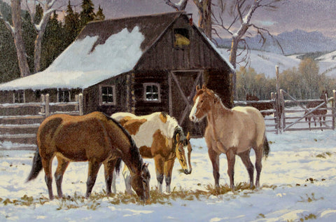 "Western Artist: Ron Stewart, ""Winter Stable"", Oil Painting on Canvas, Signed Lower Left Hand Corner, #748"