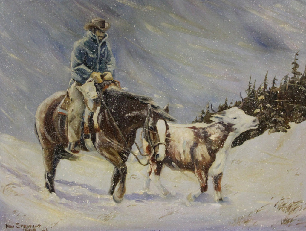 "Western Artist, Ron Stewart Oil Painting, ""Pushing For Home"" , Ca 1960's, #688"