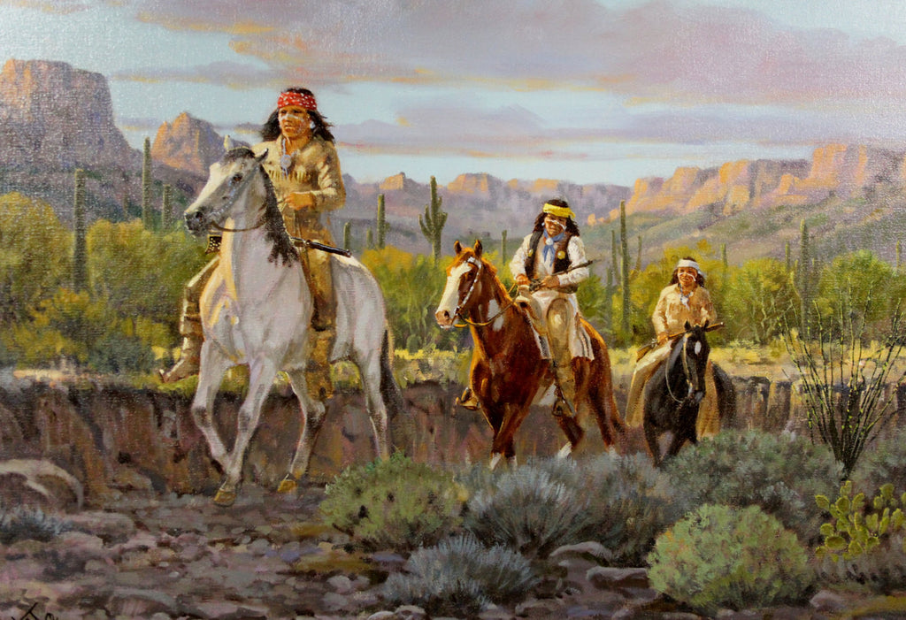 "Western Artist, Ron Stewart Oil Painting, ""Even Trouble"", #735"