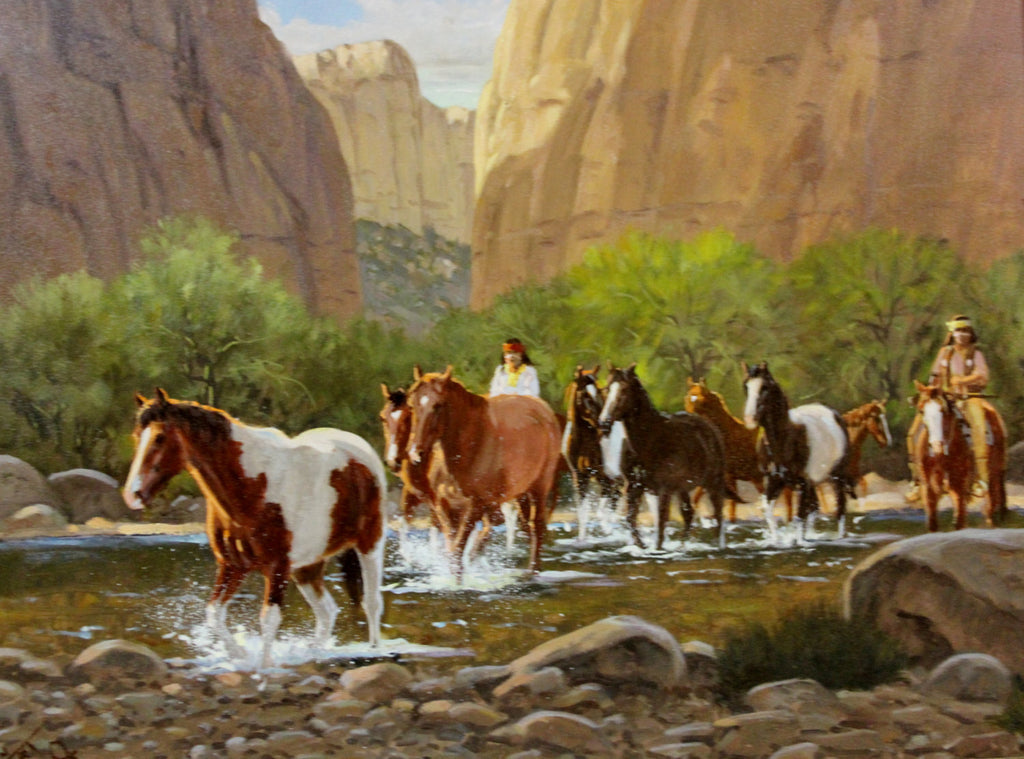 "Western Artist, Ron Stewart Oil Painting, ""High Canyon walls"" #737"