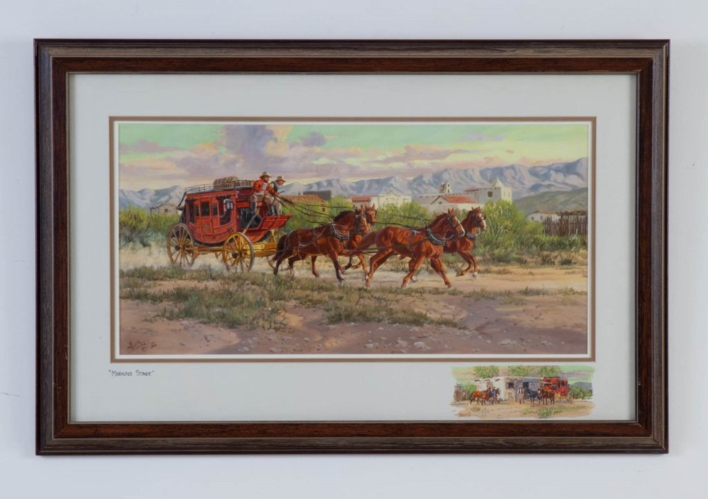 Western Artist, Ron Stewart, ‰ÛÏMorning Stage‰۝ Water Color Painting, #760