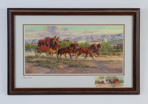 "Western Artist, Ron Stewart, ""Morning Stage"" Water Color Painting, #760"