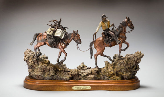 "Bronze Sculpture, ""Ranch Trail"", by James Regimbal, Limited Edition, Made to Order, #991"