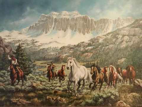 Western Oil Painting, by L. Karren-Brakke of running horses and Cowboys. Ca 1970's, C#1485