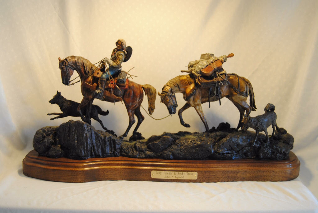 "Bronze sculpture, "" Lady, Friends and Rocky Trails"" limited edition of 75, Made to Order by James Regimbal, #994"