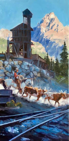 "Contemporary Western Art, ""Crossing the Rails"", by Kelly Donovan # C 1585."