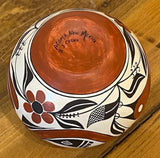 Native American Acoma Polychrome Pottery Bowl, by Barbara and Joseph Cerno, Ca 1980, #1608