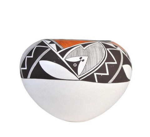 Native American, Vintage Acoma Poly Chrome Bowl, by Emma Lewis (1931-2013), Ca 1980's, #1569
