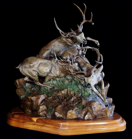 "Western Bronze Sculpture, ""Down the Rough Edges"" , by Jeff Wolf, Limited Edition of 17/20, 1990, #C 1556"