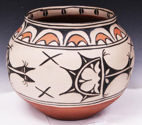 Native American San Ildefonso Polychrome Pottery Olla, Ca 1970's, #1610