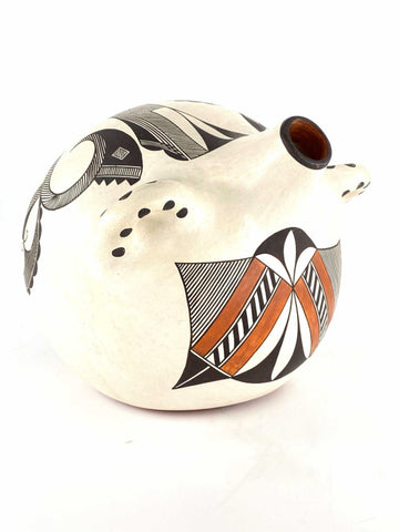 Native American Vintage Acoma Mimbres Polychrome Pottery Canteen, by Wanda Aragon, 1992, #1547