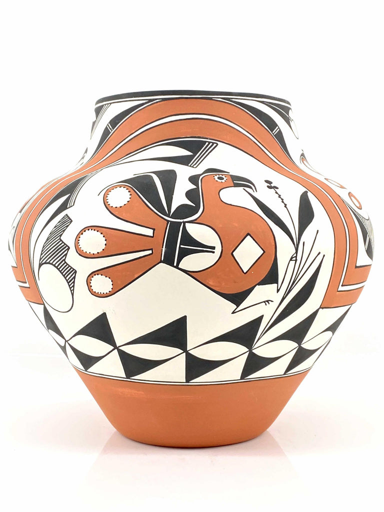 Native American, Vintage Acoma Polychrome Pottery Olla, By Franklin Peters, Ca 1992, #1549